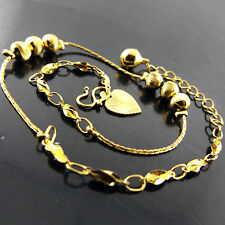 A522 GENUINE REAL 18K YELLOW G/F GOLD ANTIQUE BEAD HEART CHARM BRACELET ANKLET