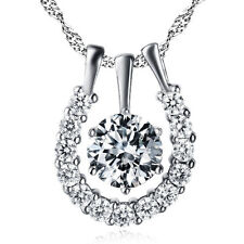 """Russian CZ Crystal Horseshoe Lucky Necklace Pendant 925 Sterling Silver 18"""""""