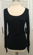 NWT Astars Super Soft Black Long Sleeve T-Shirt with Front Pocket - Size M