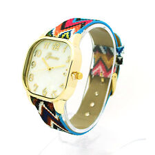 Geneva Womens Square Face Colorful Rainbow Weave Fabric Strap Wrist Watch