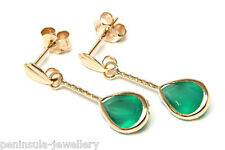 9ct Gold Green Agate Teardrop Earrings Made in UK Gift Boxed