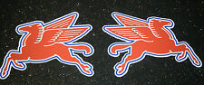 PAIR MOBIL OILS PEGASUS  HORSE CAR STICKERS  HOTROD RATLOOK HOTROD FREEPOST