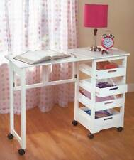 NEW Rolling Portable Office Workstation Sewing Table Store Fold Away Desk WHITE