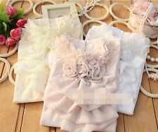 Women Lady Princess Flower Pearl Sweet Rose layered Lace Cotton Tee Shirt Tops