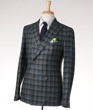 NWT $2695 BELVEST Green Check Wool-Cotton-Silk DB Sport Coat 38 R (Eu 48)