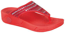 New Red coral Rhinestone jewel jelly FLIP FLOP THONG  Rubber ligh sandal sz 8.5