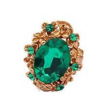 Vintage Style Antique Gold and Emerald Green Stone Adjustable Ring FR173