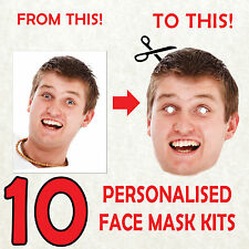 10 PERSONALISED PHOTO FACE MASKS custom STAG DO HEN NIGHT PARTY sash COSTUME
