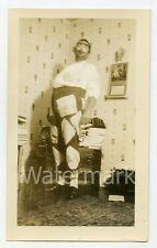 1930s snapshot photo Halloween Man in costume hobo  bum #1