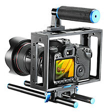 NEEWER Aluminum DSLR Camera Cage Kit for Canon Nikon Sony w/15mm Rod RIG