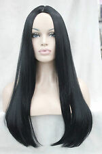 New black no bangs center skin part top synthetic women's straight long wig