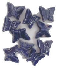 10 Peruvian 20 mm CERAMIC BUTTERFLY SHANK BUTTONS Navy Blue