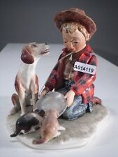 +*A014119Goebel  Archivmuster N.Rockwell Figurines Kneeling Boy Feeding Dog TMK3