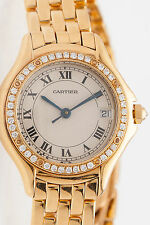 Estate $20,000 Factory Diamond 18k Yelllow Gold MIDSIZE Cartier Ladies Watch