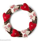GISELA GRAHAM HANDCRAFTED CRAFT TWIG WREATH FELT HEART CHRISTMAS DECORATION GIFT