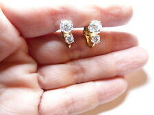 Vintage Gold Tone Metal Double Clear Rhinestone Rare Clip On Earrings