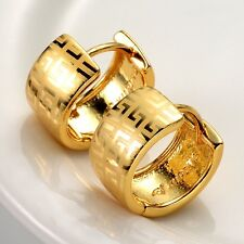 24k Yellow Gold Filled Lady Charm Earrings 14mm Hoops Fashion Jewelry HOT