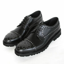 EMPORIO ARMANI $845 metal brogue studded oxfords leather shoes 9.5UK/10.5 US NEW