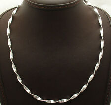 """18"""" Italian Twisted Flat Omega Chain Necklace Real Solid Sterling Silver 925"""