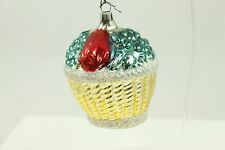 Antique Handblown Glass Christmas Ornament Made Germany Gold Handpainted Holiday