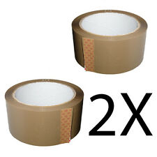 2X ROLLS BROWN PARCEL PACKING STRONG TAPE 66m x 48mm PACKAGING SELLOTAPE SEALING