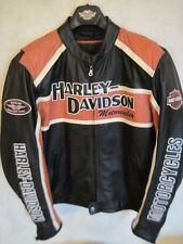 Harley Davidson size XL Classic Cruiser Black/Orange Leather Jacket