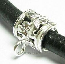 2x Sterling Silver Pendant Charm Connector Leather 3mm Cord Flower Bail Slide
