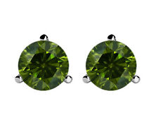 1.00 ct Round Green Diamond Stud Earrings Amazing Deal Geniune Diamonds 14k Gold