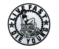 Live Fast Die Young Rockabilly Pin Up Iron On Embroidered Shirt Bag Hat Patch