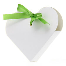 12 Heart Paper Candy Chocolate Gift Box Wedding Party Favour Green Ribbon