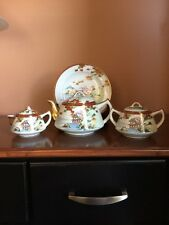 Vintage Japanese Kutani Hand Painted Porcelain Tea Set