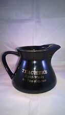 TEACHER'S Scotch Whisky black Ceramic Bar Pub Advertising Water Jug WADE