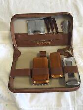 """Vintage Leather Men's Case Grooming Toiletries Kit West Germany 8 1/2"""""""
