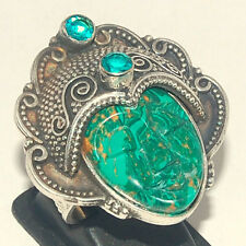 Carved Lady Face Copper  Malachite 13 GM 925 Sterling Silver Ring Size 8.25