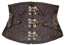 Brocade Steampunk Corset 2XS Overbust Waist Shaping Steel Boned 8
