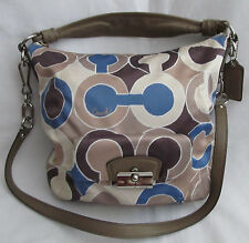 Coach Large Op Art Signature Brown Blue Kristin Crossbody Bag Tote Purse Handbag