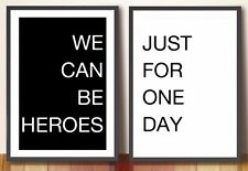 David Bowie Poster - Heroes - Clean, minimalist, typographic lyrics poster set