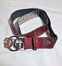 NEW WITH TAGS SIZE LARGE  L RED SNAKESKIN GUESS BELT SILVER METAL RETAIL 42.00