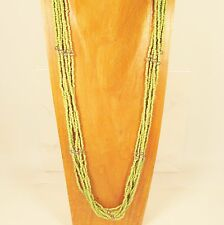"30"" Long Multi Strand Solid Green Handmade Seed Bead Faux Silver Necklace"