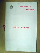 1908 Vaudeville Theatre Programme- Dagmar Wiehe in JACK STRAW by W S Maugham