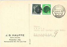 Sächsische Schwärzung AP 515 II + AP 781  II MiF auf Postkarte v. Pulnitz 1945