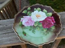 BEAUTIFUL Royal VIENNA Plate HAND Painted PINK Red WHITE ROSES Signed TOUSSAINT