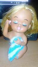 Vintage Rubber Doll Holding Towel & Lipstick Blonde  Made in Japan
