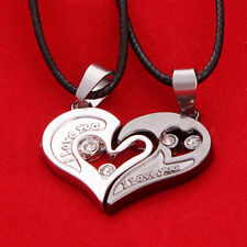 New Lover Couple Stainless Steel I Love You Heart Pendant Necklace Chain Jewelry