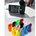 1PC Silicone Horn Stand Dock Speaker Loudspeaker Amplifier for Apple iPhone 4 4S