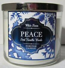 White Barn Bath & and Body Works 14.5 oz Candle 3 Wick Peace Iced Vanilla Woods