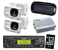 """200W Enrock Motorcycle Radio USB AUX 4x 3.5"""" Box Speakers w/Amp Cover Remote Kit"""