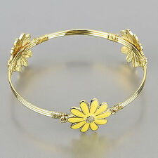 Gold Bangle Yellow Color Flower Spring Theme Charm Bracelet