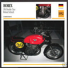 1952 Horex 350 Double Tree Roland Schnell 348cc Race Motorcycle Photo Spec Card
