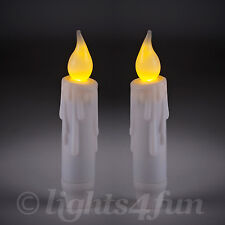 Set Of 2 Battery Operated Flickering LED 12cm Taper Candles With 6 Hour Timer
